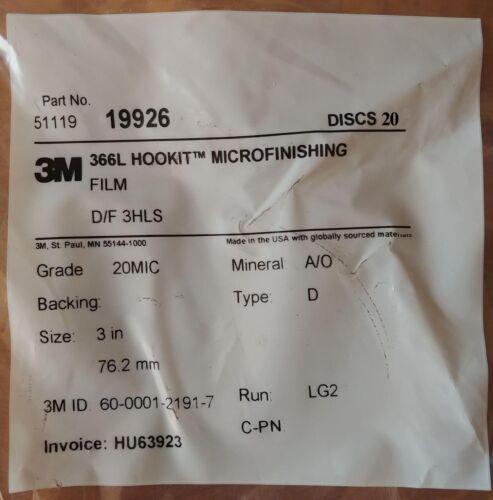 "3M 366L Hookit Microfinishing Film 3/"" 3 Hole Discs 20Mic Type D 20 Discs"