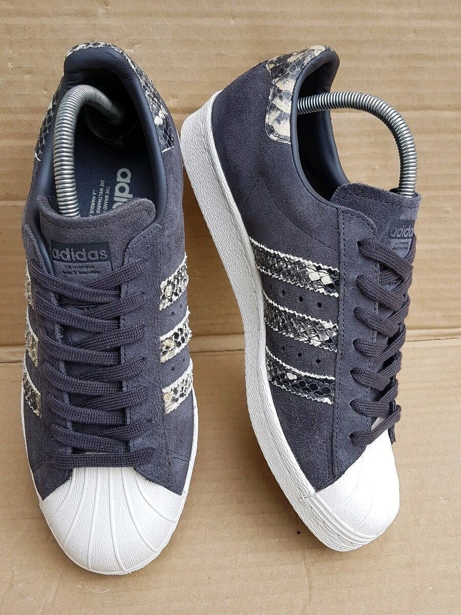 ADIDAS SUPERSTAR 80's TRAINERS SIZE 6 UK GREY SUEDE SNAKE WITH BOX EXCELLENT