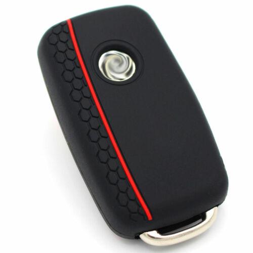 Clé Housse va nid d/'abeille noir//rouge silicone protection clés de voiture télécommande
