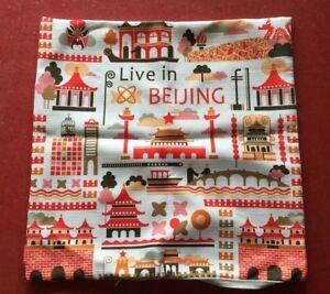 Vintage-Barkcloth-Pillow-Cover-Sham-Live-In-Bijing-Asian-zip-close-17x17-2752B