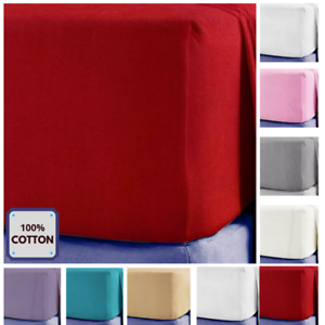 100/% Poly Cotton Extra Deep 25cm Fitted Sheet Single Double King Size free post