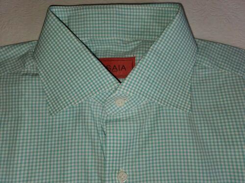 Isaia Teal Gingham Shirt 16 41