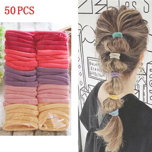 50Pcs Women Girls Hair Band Ties Rope Ring Elastic Hairband Ponytail Hair Rope