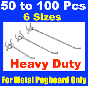 Metal Peg Board Hooks 50mm To 250mm Pegboard Grooved Panel Hook 6MM
