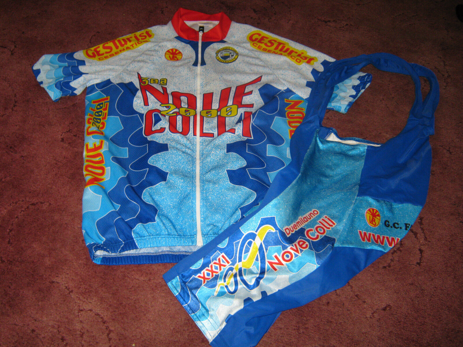 GC FAUSTO COPPI CESENATICO NOVE COLLI V&B ITALIAN CYCLING JERSEY & BIB SHORTS XL