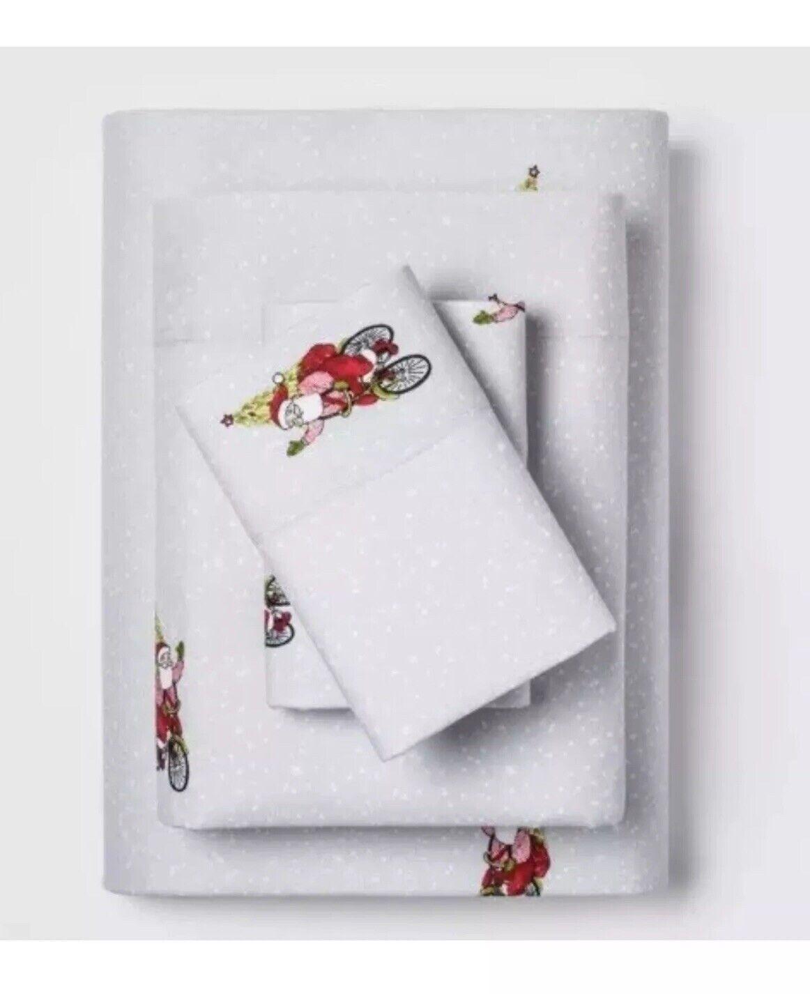 NEW QUEEN Threshold 100% Cotton Flannel Sheet Set Santa RIDING BIKE