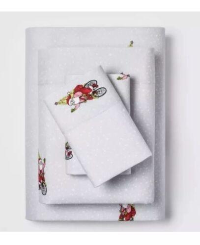 NEW QUEEN Threshold 100/% Cotton Flannel Sheet Set Santa RIDING BIKE