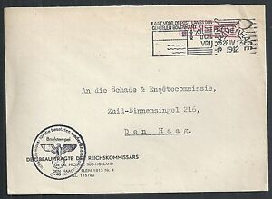 German Reich covers 1942 local Service cover Reichskommissars The Hague