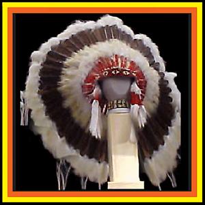 Genuine-Native-American-Navajo-36-034-Indian-Headdress-DARK-BROWN-PRAIRIE-browns