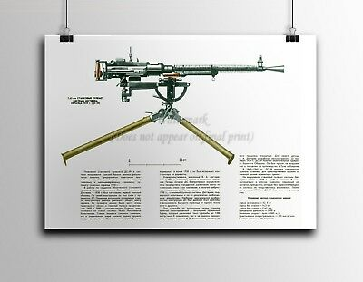 Soviet Russian Military Poster DS-39 Degtyaryov Medium Machine Gun 7.62mm M1939