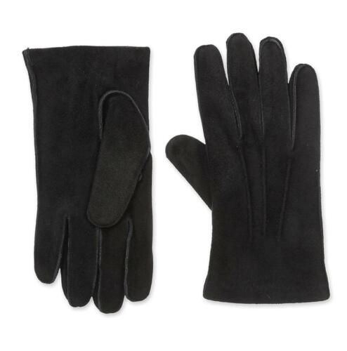 New with Tag $175 Portolano Suede Leather Saddle Stitch Black Gloves Size L