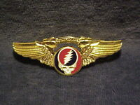 NEW LARGE GRATEFUL DEAD STEAL YOUR FACE WINGS PIN-GOLD PLATED
