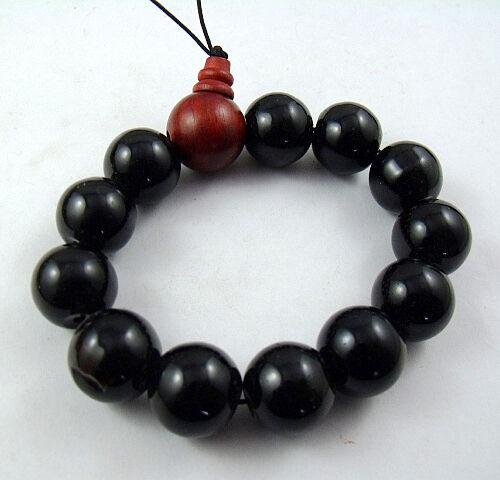 16mm Black agate Beads and red Sandalwood Tibetan Buddhism Bracelet