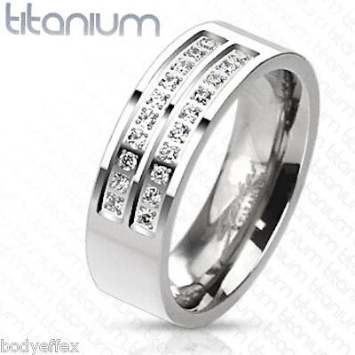 PERFECT MENS SOLID TITANIUM SILVER WEDDING BAND RING WITH CLEAR MICRO PAVED CZ'S