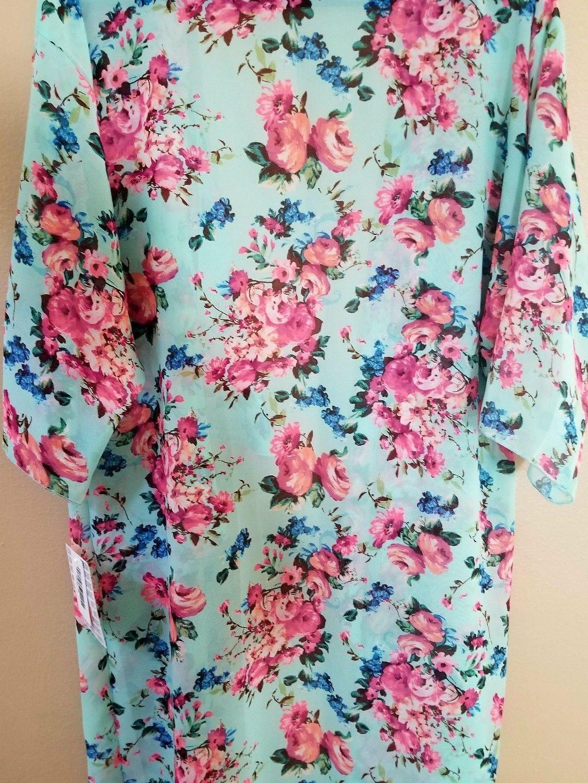 MEDIUM LuLaRoe SHIRLEY Blau mint teal Rosa Rosas sheer kimono wrap cover NWT M
