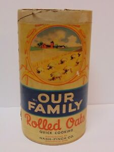 Rare-Old-Vintage-1941-OUR-FAMILY-ROLLED-OATS-FARM-BOX-CAN-MINNEAPOLIS-MINNESOTA