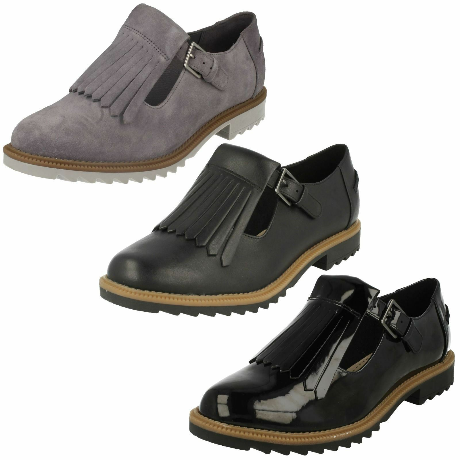 R40A Clarks Ladies Griffin Mia Black Leather Buckle Fastening Shoes D-Fit