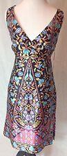 nanette lepore Sz6 Multi Silk Like Empire Waist New Dress With Side SlitsReg$389