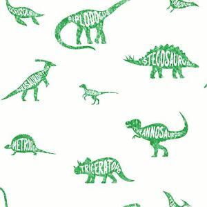 Over-The-Arc-En-Ciel-Dino-Dictionary-Papier-Peint-Vert-Vintage-90902-Bedrooms