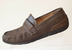 1db4fbda1313 Ecco Men s 44 10-10.5 Brown Nubuck Leather Driving Loafer Moccasin ...