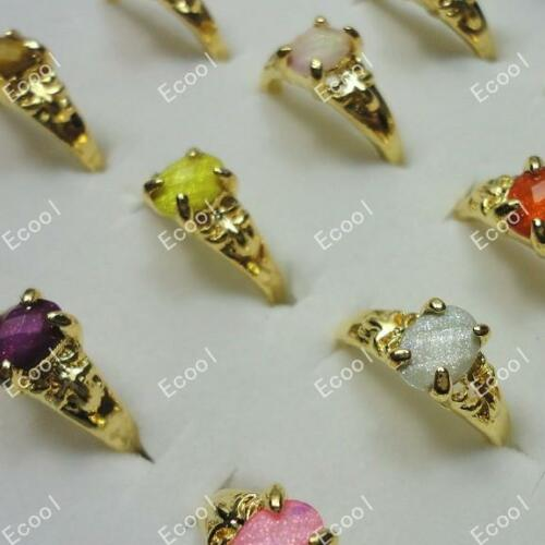 15pcs Acrylic Crystal Rings Gold Plated MIx Wholesale jewelry Free Shipping BFP