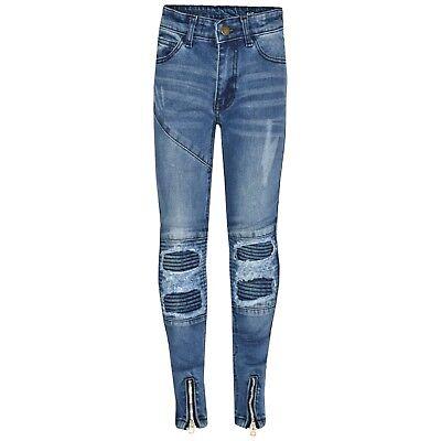 Bambini Ragazzi Mid Blu Elasticizzato Designer's Jeans Strappato Denim Skinny Pants Pantaloni | eBay