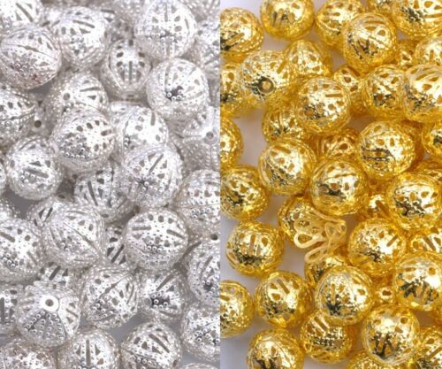 GOLD /& SILVER PLATED Metal FILIGREE Round Spacer BEADS Choose 4,6,8,10,12MM