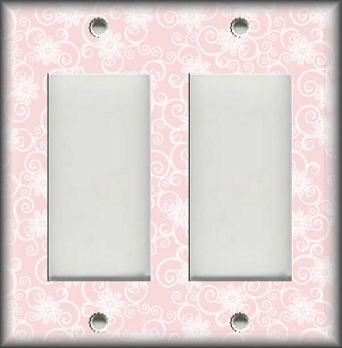 Metal Light Switch Plate Cover White Swirl Flowers On Pink Background Home Decor