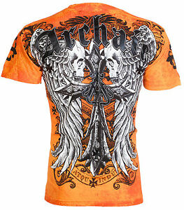 ARCHAIC-by-AFFLICTION-Mens-T-Shirt-LUSTROUS-Skulls-Wings-Tattoo-Biker-UFC-40-a