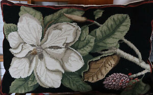 19-034-by-29-034-Handmade-Embroidered-Wool-Needlepoint-Pillow-Magnolia-Blooming