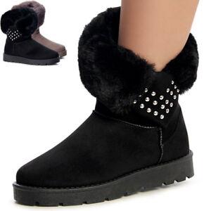 Damenschuhe-Stiefel-Stiefeletten-Worker-Boots-Booties-Kunstfell