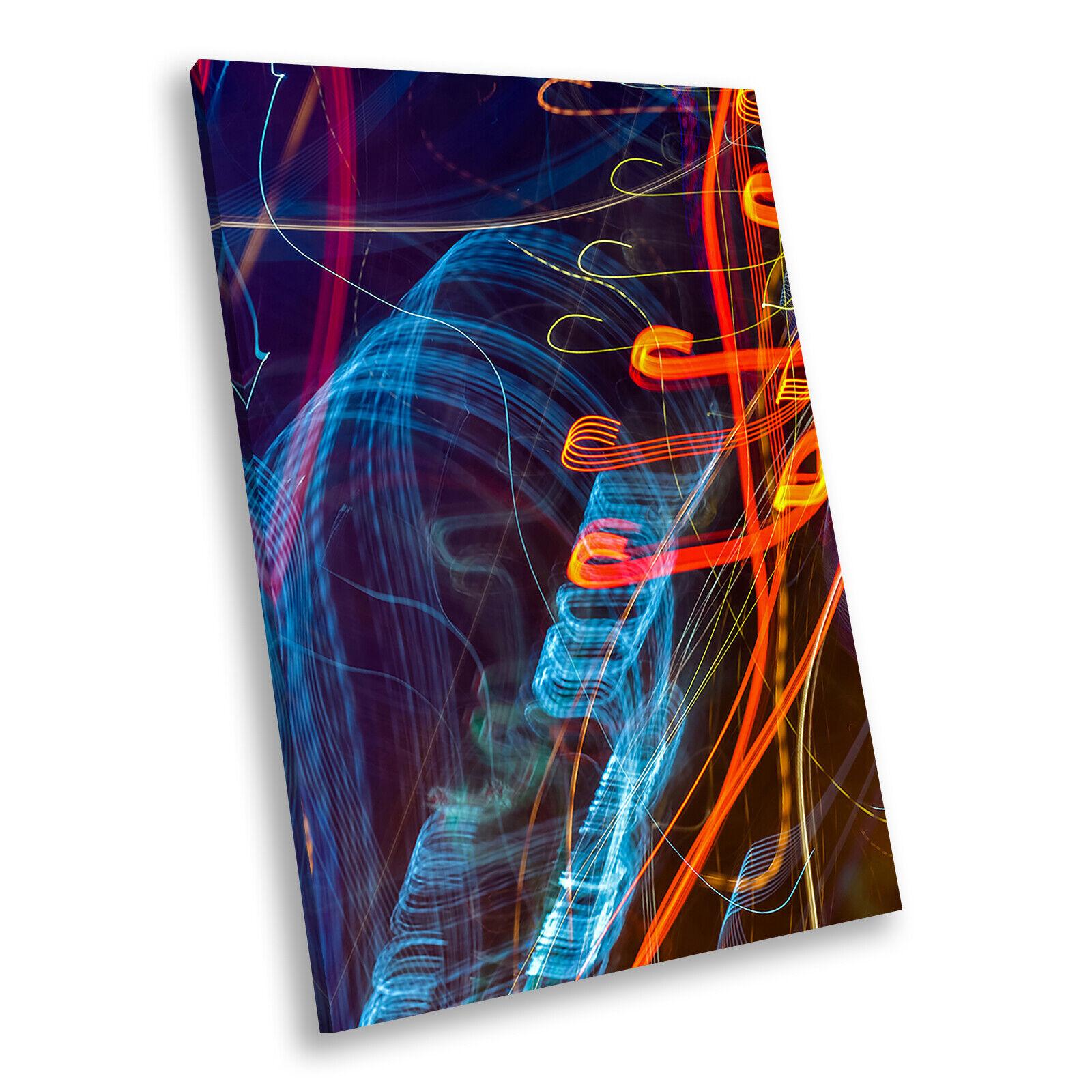 Blau Orange rot Cool Portrait Abstract Canvas Framed Kunst Large Bild