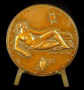 Medal-Allegorie-de-La-Mediterranean-Sea-S-Marcel-Fox-Naked-Woman-71mm-Medal
