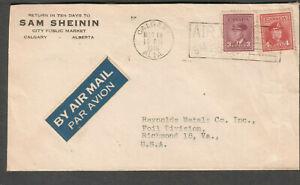 Canada 1946 cover Sam Sheinin Calgary air slogan to Reynolds Metals Richmond VA