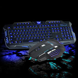 Hot 3 Color Illuminated LED Backlight Wired USB Ergonomic Gaming Keyboard&Mouse