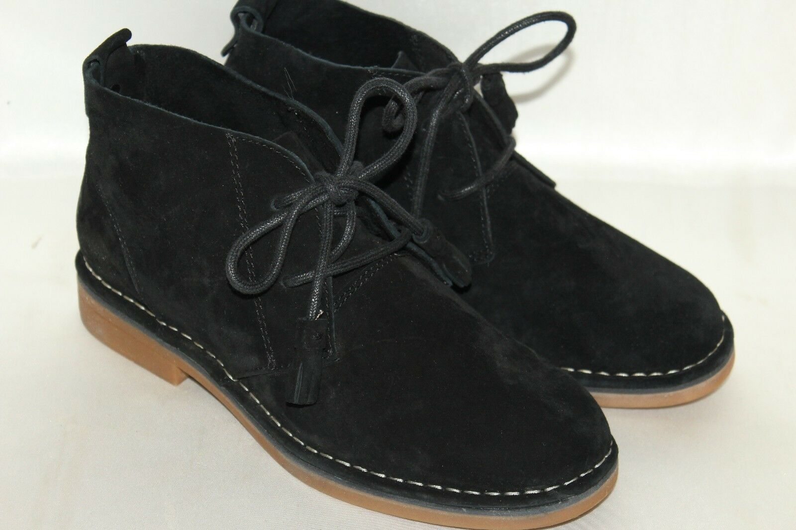 HUSH PUPPIES Black Suede Leather Lace Up Desert Ankle Chukka Boots Sz 6
