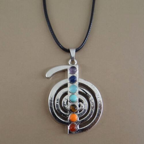 Collier avec pendentif Reiki Cho Ku 7 chakras avec pierre naturelle-col111