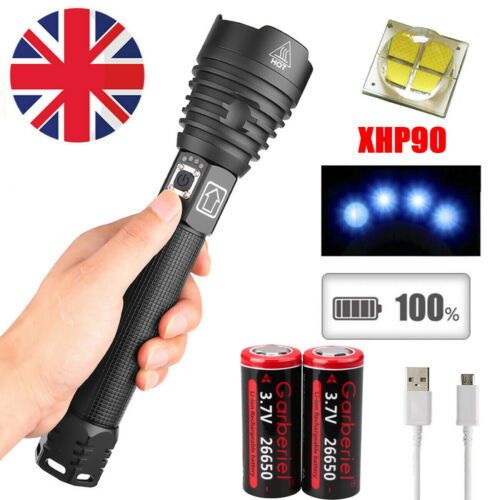 Ultra Bright 250000LM XHP90 LED USB Rechargeable High Powerful Torch Flashlight
