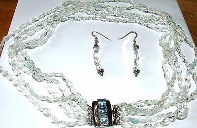 Natural Goshenite/Aqua necklace with topaz clasp ...408 Carat