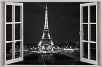 3D Window View Eiffel Tower Paris Wall Sticker Mural Art Decal Wallpaper