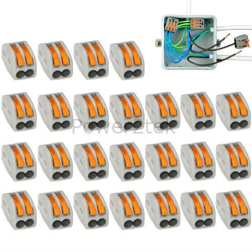 222-412 25 x WAGO 2-way LEVA Elettrici Connettori Filo Terminali del morsetto