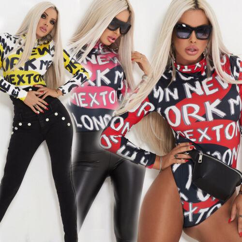 By Alina Damen Body Bodie Bodysuit Shirt Print Damentop Pullover Bluse Gelb XS-M