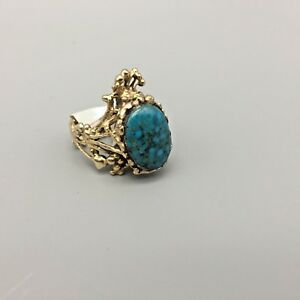 Nice-Spiderweb-Turquoise-and-14k-Gold-Ring-Size-5