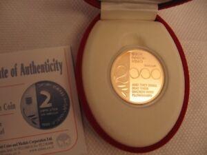 Israel-1999-Holy-Land-Millennium-Coin-10NIS-Proof-0-5oz-16-96g-Gold-22K