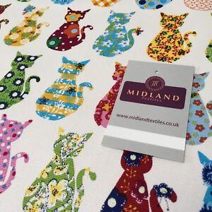 100-Lona-Del-Algodon-Blanco-Multicolor-Gato-Impreso-Tejido-147cm-Ancho-Mtex