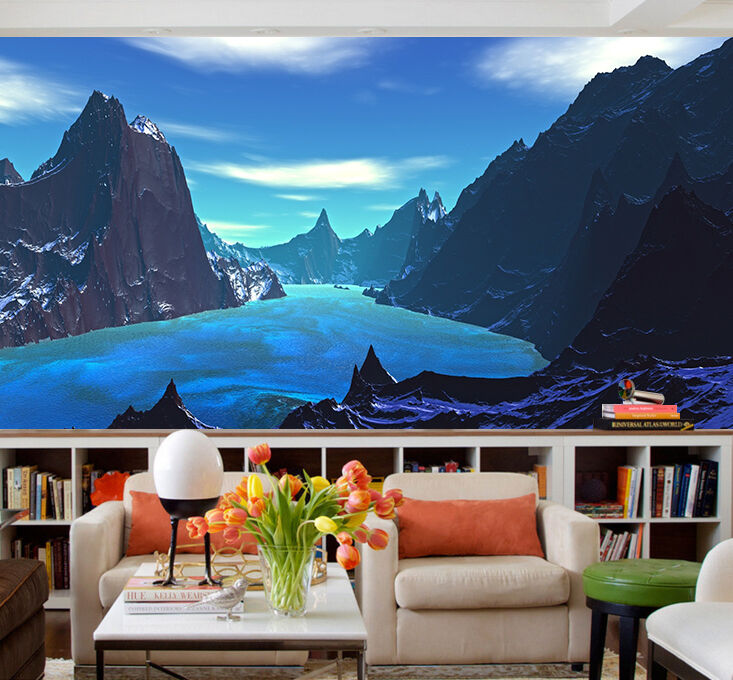 3D Mountains trees bule river Wall Paper Print Decal Wall Deco Indoor wall Mural