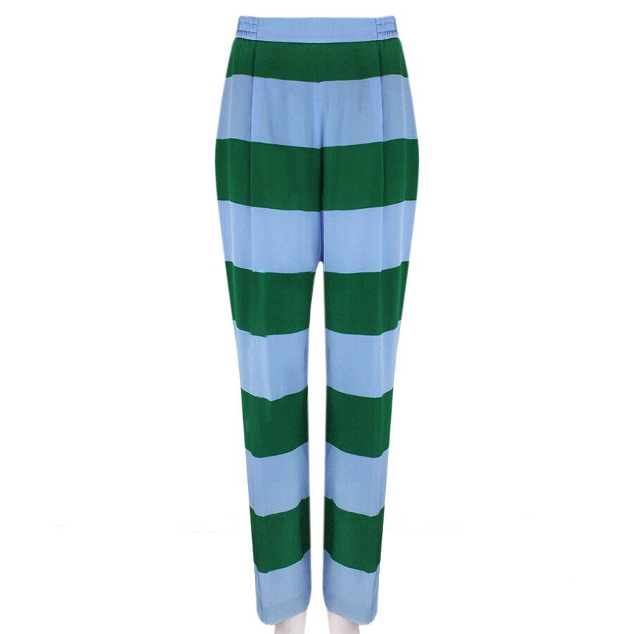 Stella McCartney bluee Green Wide Leg Striped Trousers Pants IT38 UK6