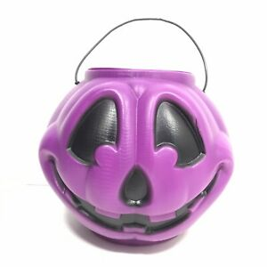 VTG-General-Foam-Plastics-Purple-Halloween-Pumpkin-Candy-Bucket-Mold-Smiley-Face