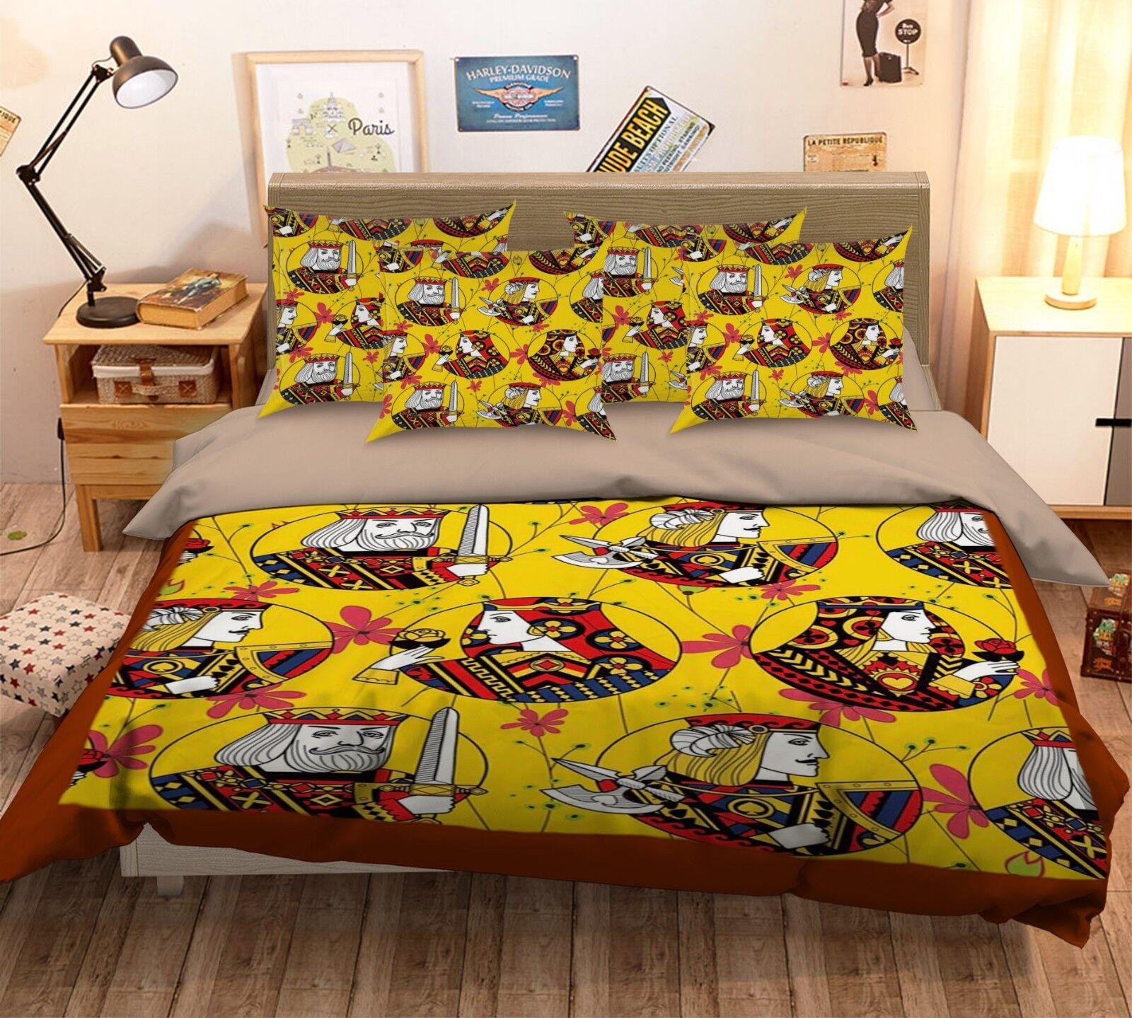 3D Poker Pattern 472 Bed Pillowcases Quilt Duvet Cover Set Single Queen King AU