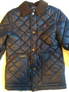 Ralph Lauren Polo Boys Quilted Jacket Coat AVIATOR NAVY Brown ... : childrens ralph lauren quilted jacket - Adamdwight.com